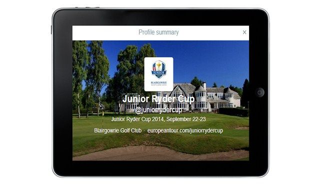 Excellent news that the Junior Ryder Cup now has its own Facebook and Twitter channels and a specific tab on the Ryder Cup page within the European Tour's website. Keep up to date on the future stars build up and competition days.