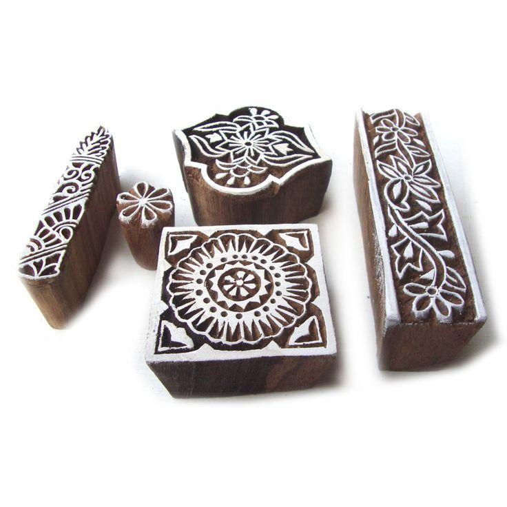 Elegant Square and Border Pattern Wooden Printing Blocks (Set of 5) #RoyalKraft…