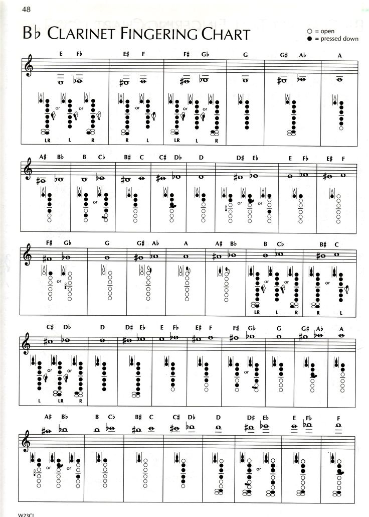 E Flat Clarinet Scale Clarinet Finger Chart ...