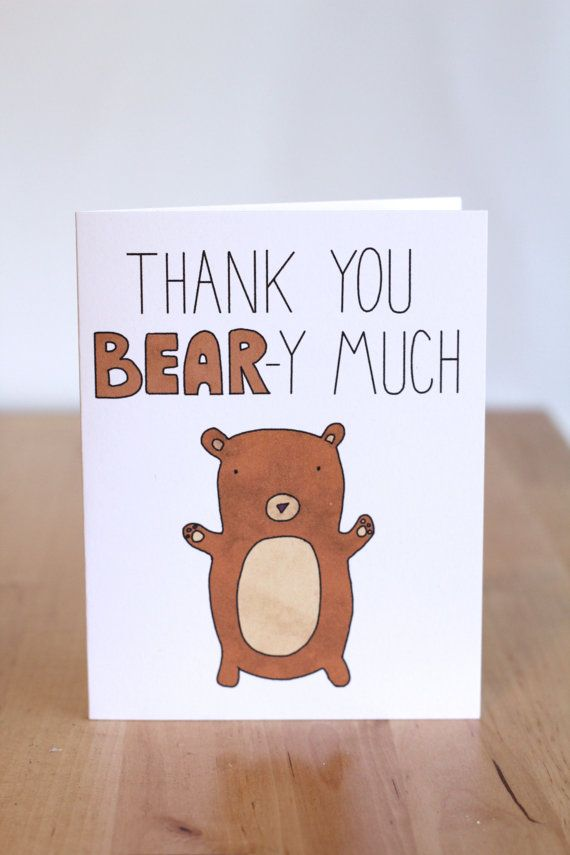 wedding thank you cards time limit%0A Thank You Bear y Very Much  Pun  Cute Bear  by ClaireLordonDesign