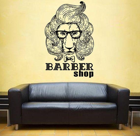 kik866 Wall Decal Sticker lion VIP barber shop salon male mustache razor haircut barber scissors the Reception entrance hall