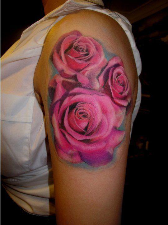Realistic Pink Roses Tattoo - Chris Nieves http://tattoosflower.com/realistic-pink-roses-tattoo-chris-nieves/