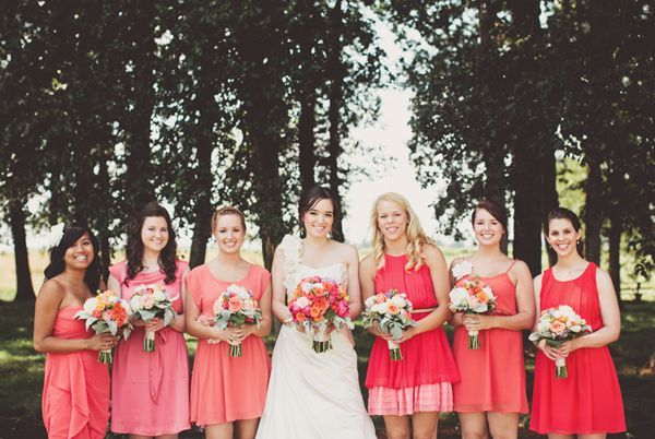 20 Coral Bridesmaid Dresses see more : https://www.fabmood.com/20-coral-bridesmaid-dresses/ Coral bridesmaids,mismatched short coral bridesmaid dresses: