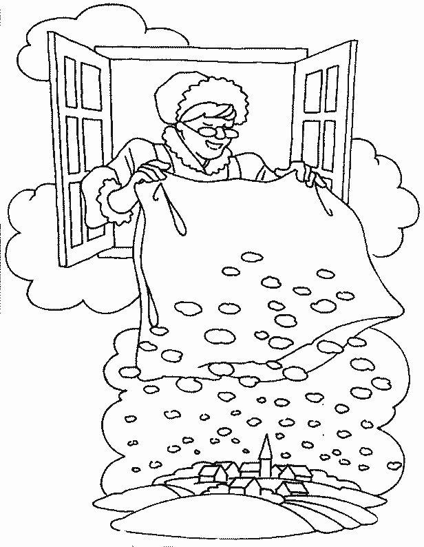 Kleurplaat sneeuw Vrouw Holle