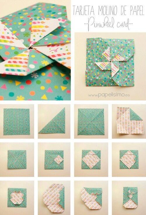 folding diagram for a card/envelope combo ... pinwheel on top ...