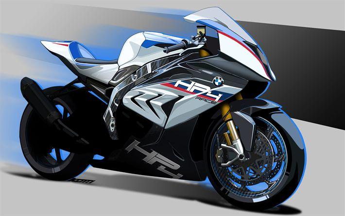 Descargar fondos de pantalla 4k, BMW HP4 Raza, 2018 bicicletas, motos deportivas, arte, alemán motocicletas, BMW