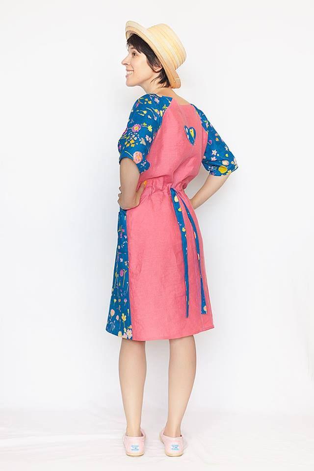 Japonečky modro-růžové / šaty (látka Nani Iro)