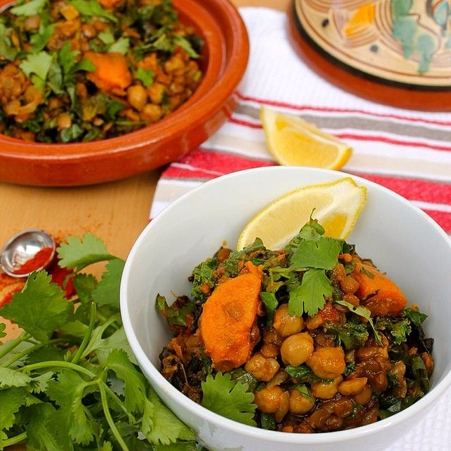 Lentil, chickpea, kale and sweet potato stew