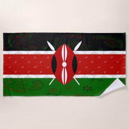 Kenya Flag Beach Towel - trendy gifts cool gift ideas customize