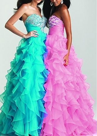 Perfect Organza & Satin A-line Strapless Sweetheart Neckline Natural Waist Full Length Ruffled Prom Dress