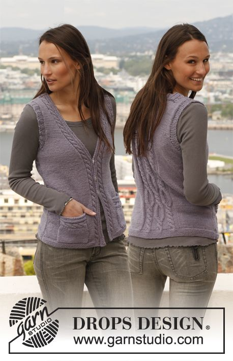 """Free pattern: Knitted DROPS vest with cables in """"Karisma"""". Size: S - XXXL."""