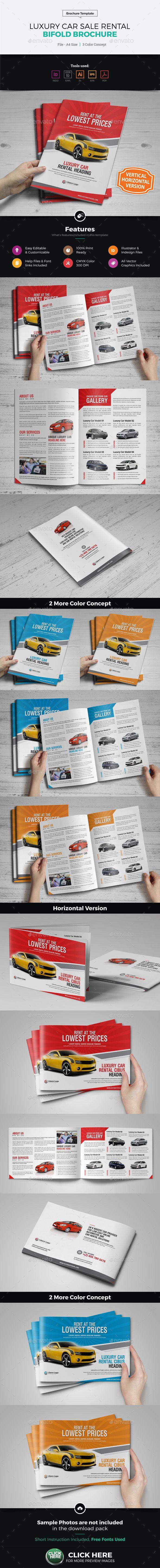 Luxury Car Sale Rental A4 Brochure Design Template Vector EPS, InDesign INDD, AI Illustrator