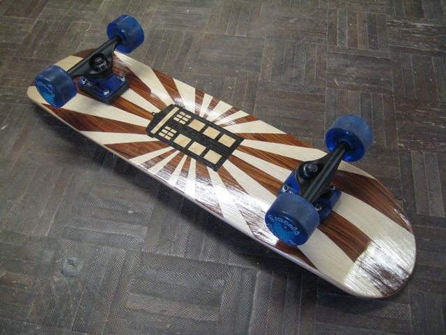 The creative students at Maitland Grossmann High School have made Marquetry layers using NAV veneers for the skateboard decks.