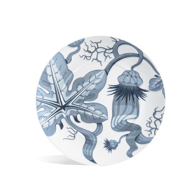 "Teller, flach, ""MEISSEN® COSMOPOLITAN"", Garden of Börner, Silky Sky/Eisblau, Ø 32 cm"
