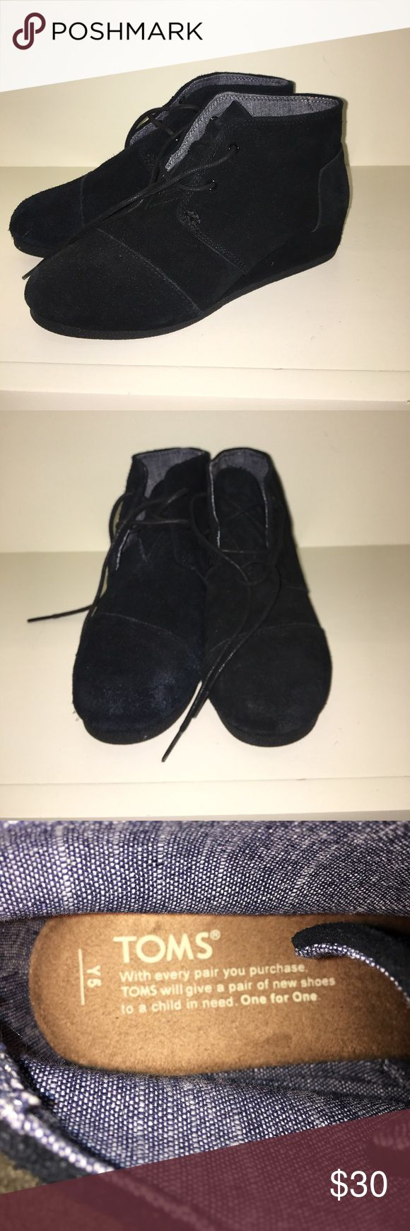 Youth Tom Wedges Barely Worn (Y4 = Women's 6) Black suede Tom wedges in size youth 4 (women's 6), barely worn. Toms Shoes