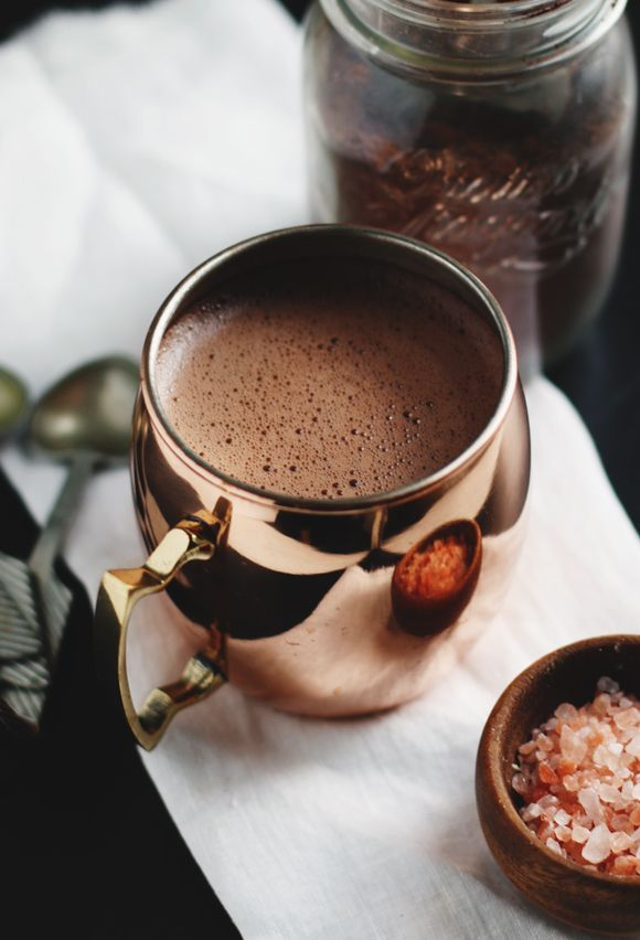 Warm up without the sugar by making this ultra-warming vegan, paleo superfood hot cocoa mix!  Confession: My morning ritual typically consists of cups and cups of coffee made in my French press, mixed