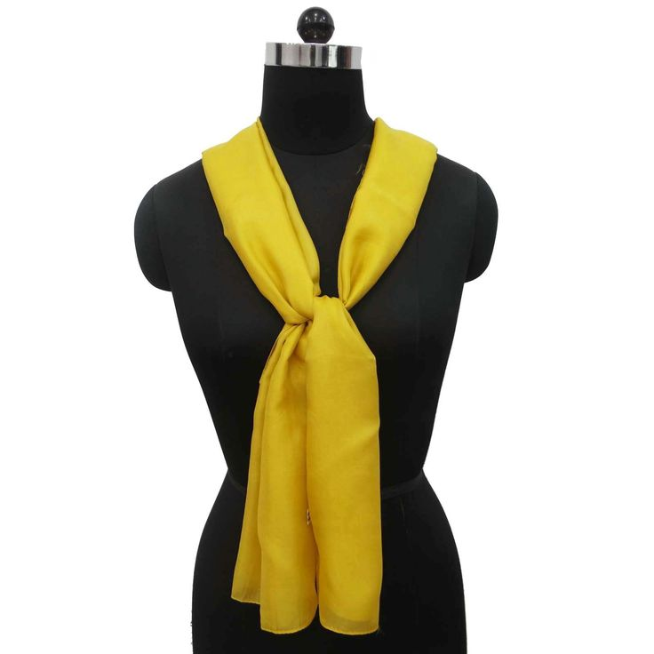 100% Silk Scarf Long Solid Fashion Women Wrap Pure Soft Yellow Scarves