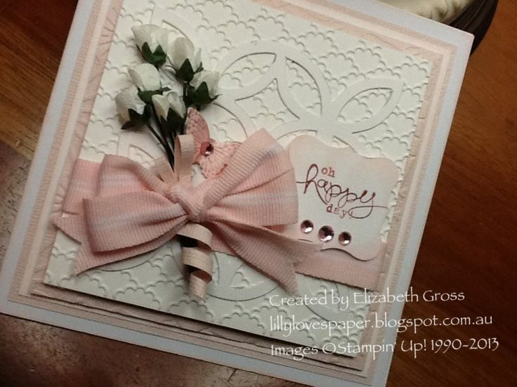 Christening card with Lattice Die and Bloomin Marvellous