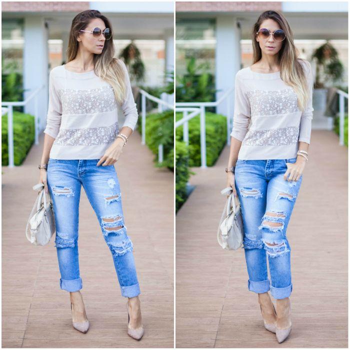 Inspirações de looks para o dia a dia com calça jeans destroyed e blusa de renda
