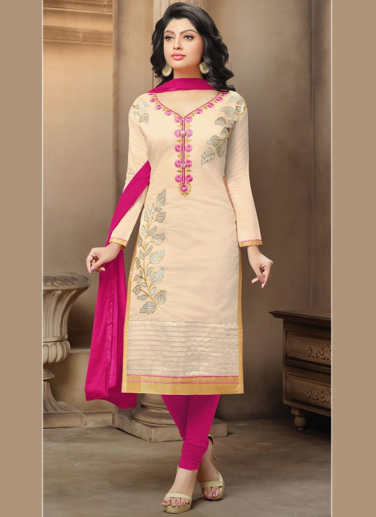 Buy salwar kameez online. Customization and free shipping worldwide. Zesty chanderi churidar suit for festival and party.