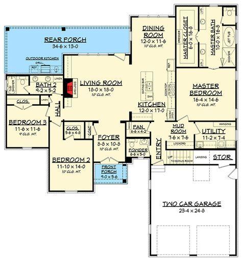 One Level European House Plan - 51730HZ | Architectural Designs - House Plans
