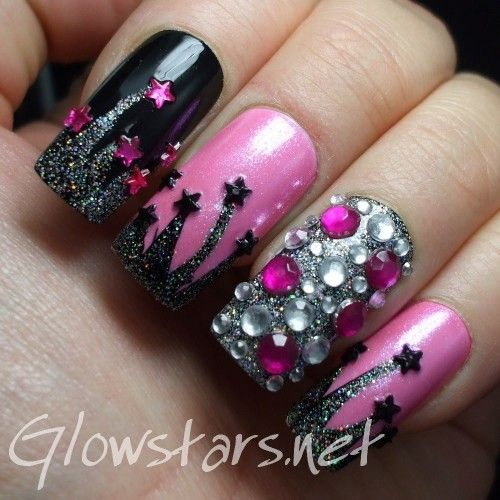 a manicure using Nina Pro Black, Art Club Glitter Hologram, Color Club Vintage Couture, Sally Hansen LCD and BYS Glitterati
