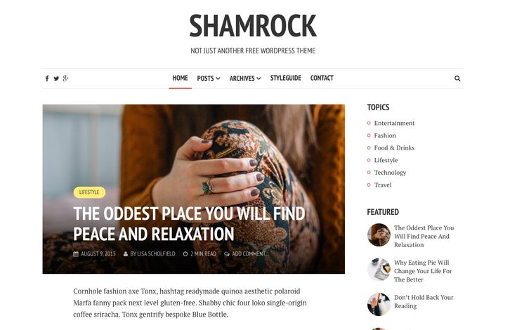 The Shamrock free blogging theme. More info: http://curatable.net/20-free-wordpress-themes-i-would-actually-use-to-start-a-new-blog-in-2016/