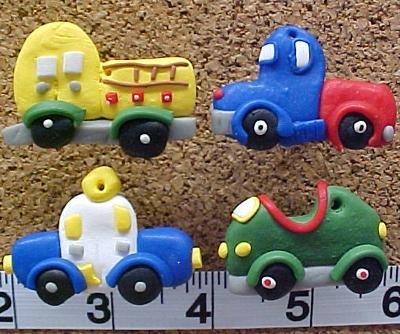 Cars & Trucks Clay Decorative Push Pins (4)
