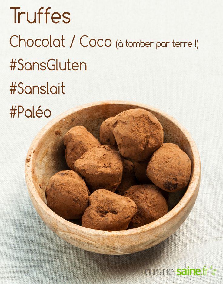 Truffes au chocolat et lait de coco sans gluten, sans lait (paléo et vegan) à découvrir sur : https://cuisine-saine.fr/recette-paleo/truffes-au-chocolat-lait-coco/ via @karenchevallier