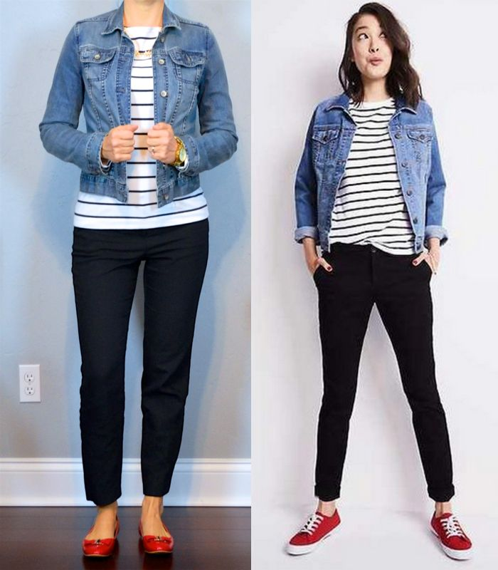 outfit post: jean jacket, striped shirt, black ankle pants, red bow flats