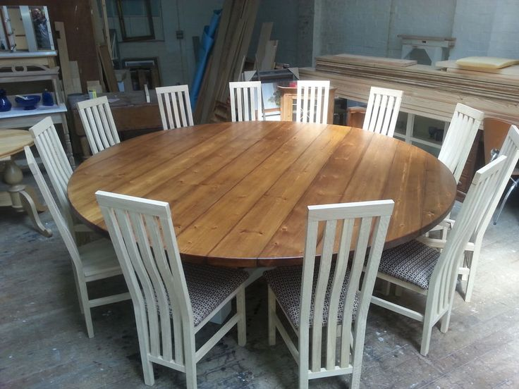 81012 14 Seater Large Round Hoop Base Dining Table Bespoke Chunky 44mm Top