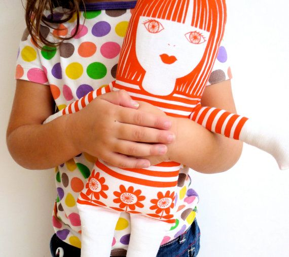 Scandi style screen printed retro 'Tilda' rag doll door Janefoster