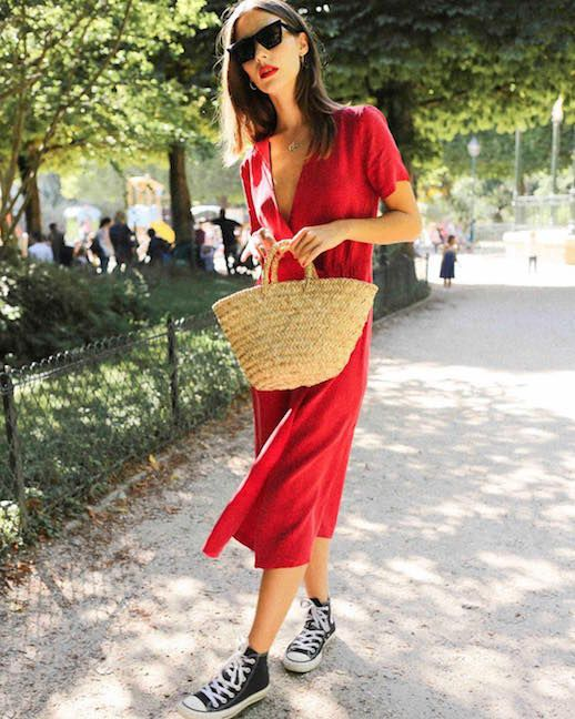 Le Fashion Blog French Dressing Red Midi Dress Straw Tote Black Converse Sneakers Via Who What Wear Uk