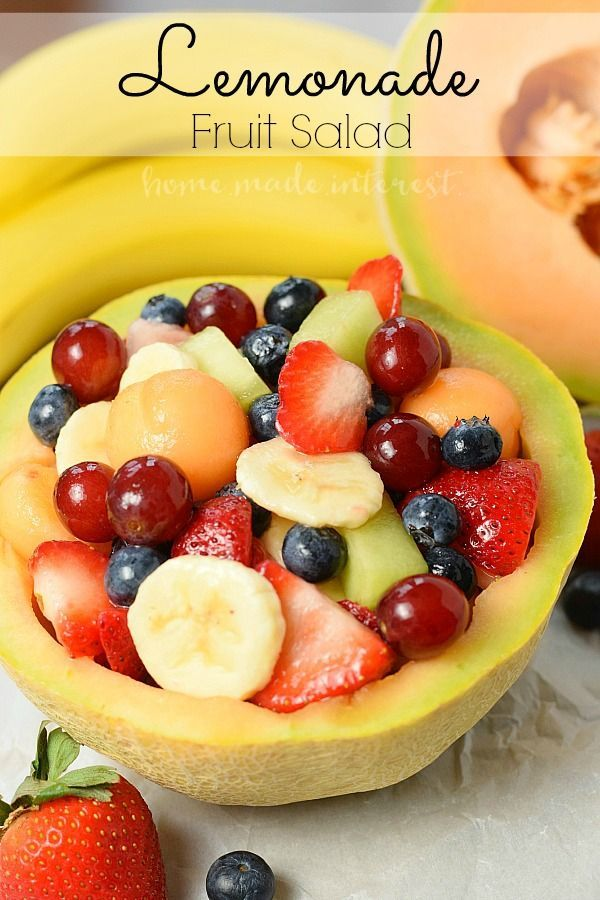 Whether it is for a Mother's Day brunch, 4th of July , or a summer picnic this Lemonade Fruit salad is an easy fruit salad recipe to share with friends and family. The fruit salad recipe is sweetened with lemonade that keeps the fruit from turning brown. It's and easy brunch recipe and perfect for summer picnics and a healthy snack for the kids.