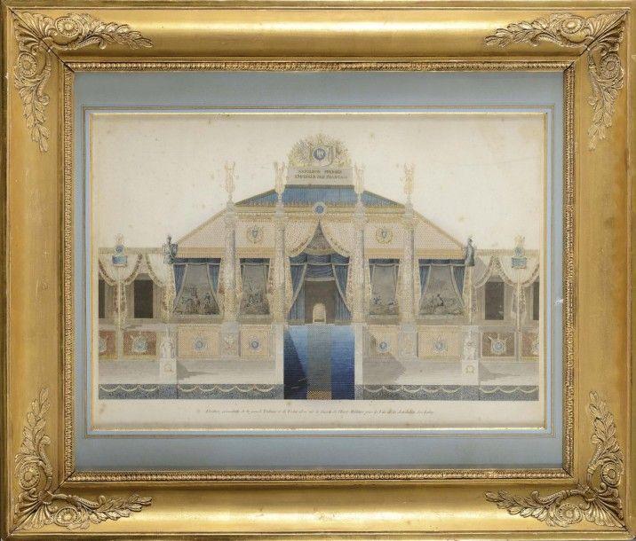 Charles PER CIER (Paris, 1764 - 1838) et Pierre François Léonard FONTA INE (Pontoise, 1762 - Paris, 1853) «Élévation géométrale de la grande Tribune et du Trône élevé sur la façade de l'École Militaire… - Osenat - 20/11/2016