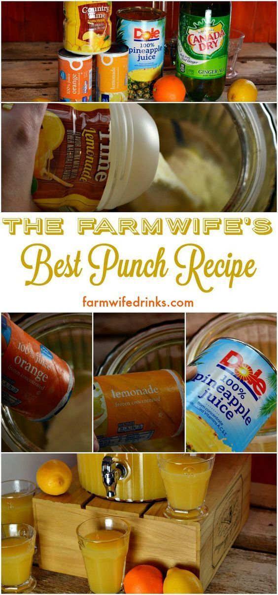 This is the best punch recipe. It combines pineapple, orange and lemon juice flavors for a an addicting drink for any party.