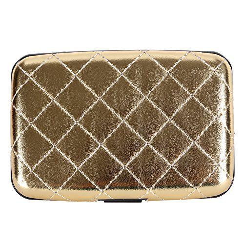 Aluminum Quilted PU Leather RFID Blocking Wallet Slim Hard Metal Credit Card Holder for Women (Gold). SAVE THOUSANDS in Losses and Headaches: What takes seconds to destroy. BE SAFE AND PROTECTED from Electronic Pickpocketing: Safe, Secure, Blocking protection from all RFID scanners and readers. ENJOY PREMIUM QUALITY: using High quality aluminum materials and Environmentally friendly plastic(ABS) and PU leather from top manufacturer. Weight more than 2.5 oz and the thickness of the metal...