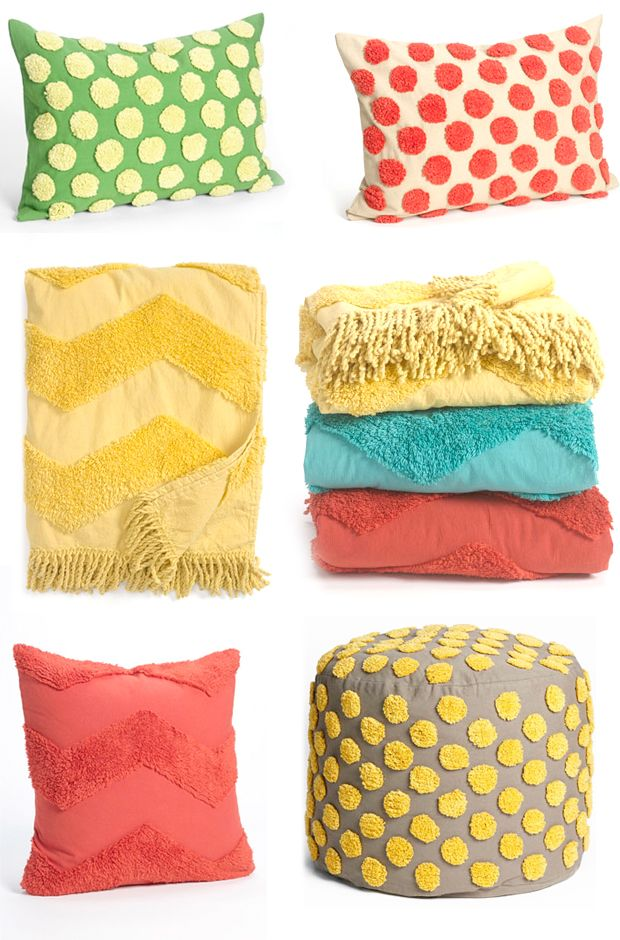 puffs on Poufs - chenille accents from Nordstrom @ Home