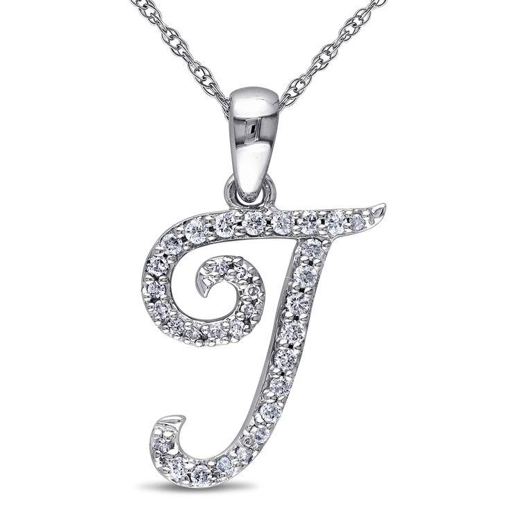 Miadora 10k Gold 1/6ct TDW Diamond Initial Necklace