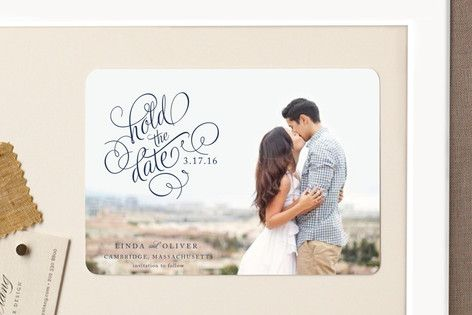 """Hold the Date"" - Classical, Formal Save The Date Magnets in Noir by Alston…"