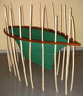 """Lukey's Boat"" Crocheted netting twine, wood, metal, rubber 72"" x 34' x 56' (H)"