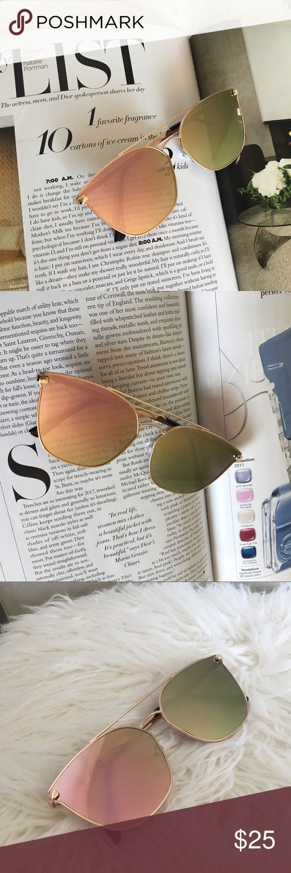 Rose Gold Mirror Sunglasses With Pink Lenses Fun and sleek rose gold mirrored sunglasses with cat eye style. PInk mirror lenses. UV protection. New boutique item. moxiefromroxie Accessories Sunglasses