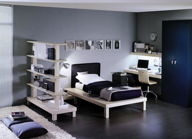 Black And White Bedroom Design Ideas With White Bed And Black Bed Sheet Including White Study Desk And Chair Also Freestanding White Bookshelves Plus Gray