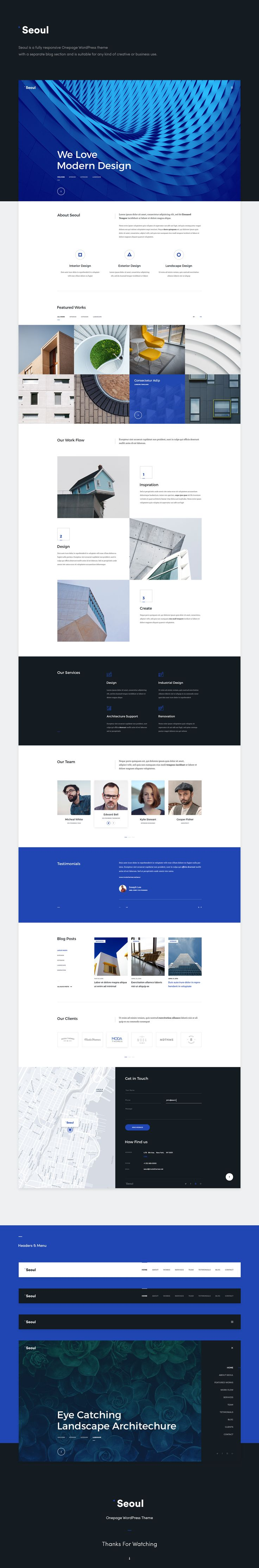 Seoul is a fully responsive Onepage WordPress theme with a separate blog section and is suitable for any kind of creative or business use.