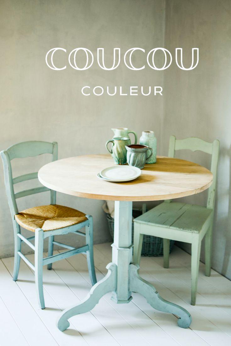 Dieser Tisch Und Stuhl Wurde In Der Okologischen Kreidefarbe Flair Von Coucou Couleur Gestrichen Der Andere Stuhl In Tisch Und Stuhle Grune Mobel Turkis Mobel