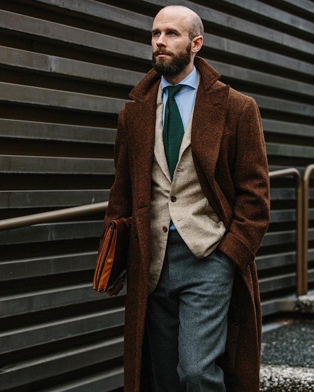 B&Tailor bespoke jacket Green printed-silk tie Mattabisch via The Armoury  Brown wool/silk handkerchief Drakes Pale-blue spread-collar shirt DAvino  Grey ...