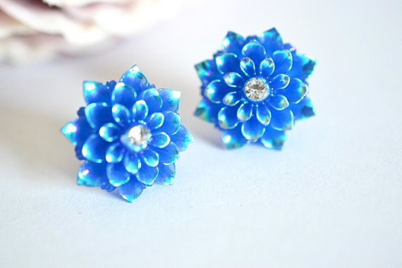 Pretty Dahlia Earring Stud Royal Blue wedding bridal vintage