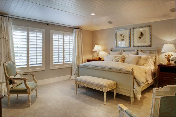 hampton style homes -I like the colour of the walls with the plantation shutters and light drapes