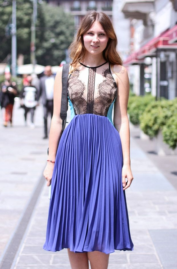 Sheer lace and pretty pleats. Street style Fashionising.com snapped during Milan fashion week http://www.fashionising.com/fashionweek/milan-fashion-week