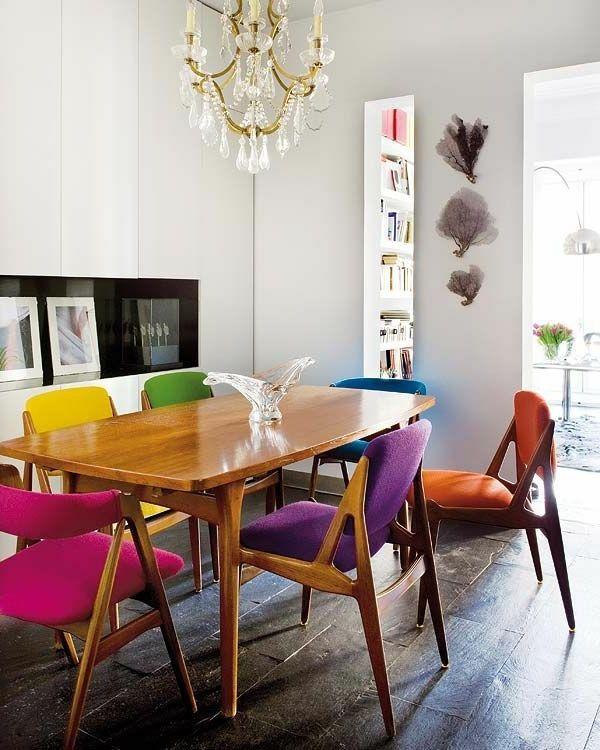 Vintage Farbige Holzstuhle Im Esszimmer Speisezimmereinrichtung